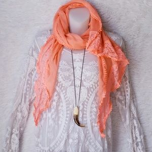 Hot Coral Lace Scarf